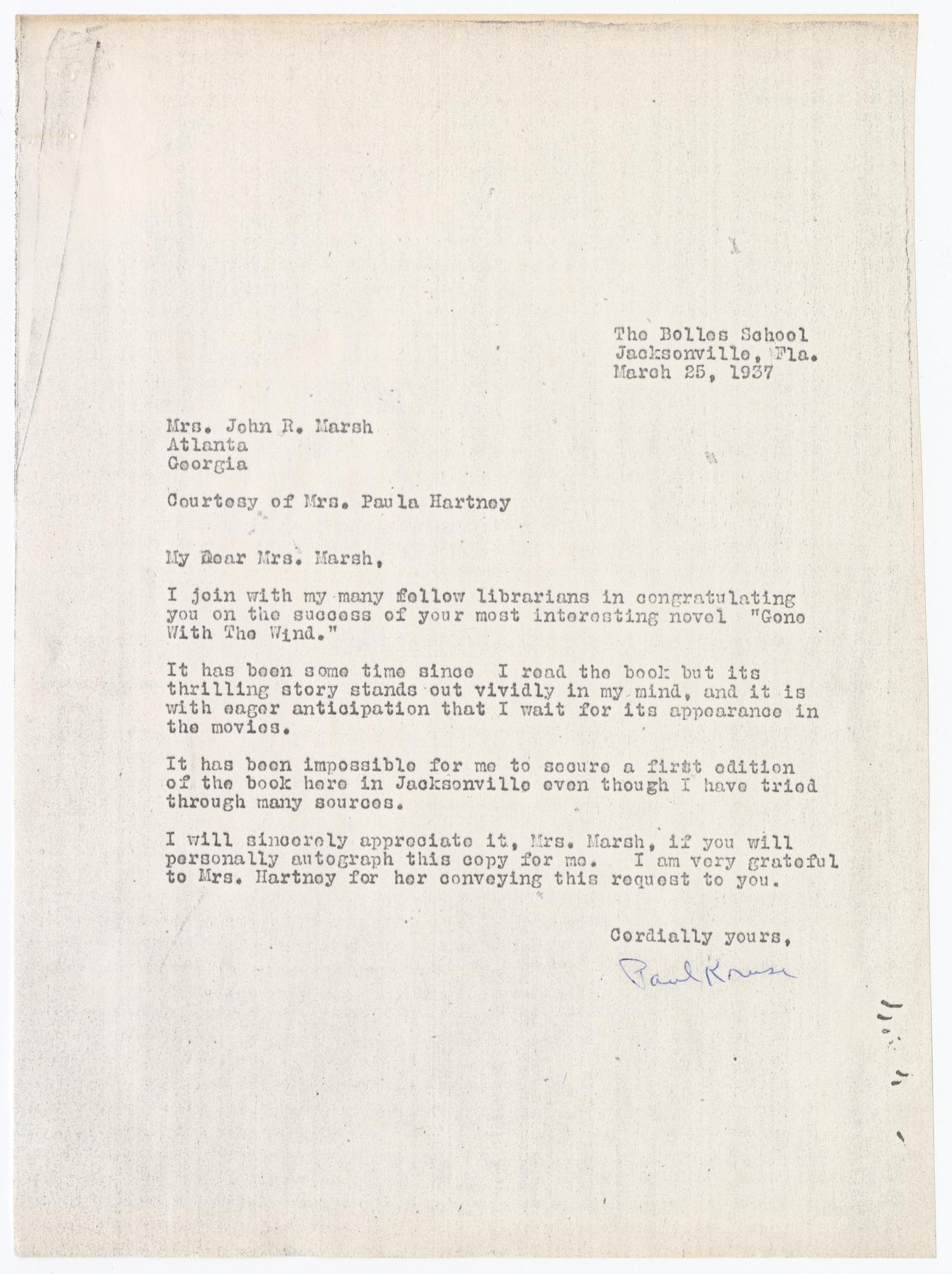A typed letter addressed to Margaret Mitchell, signed by Paul Kruze.