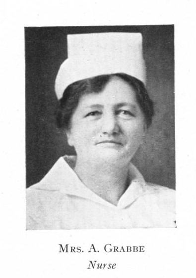 black and white photo of woman from shoulders up, she wears a white collared top and a white nurses hat