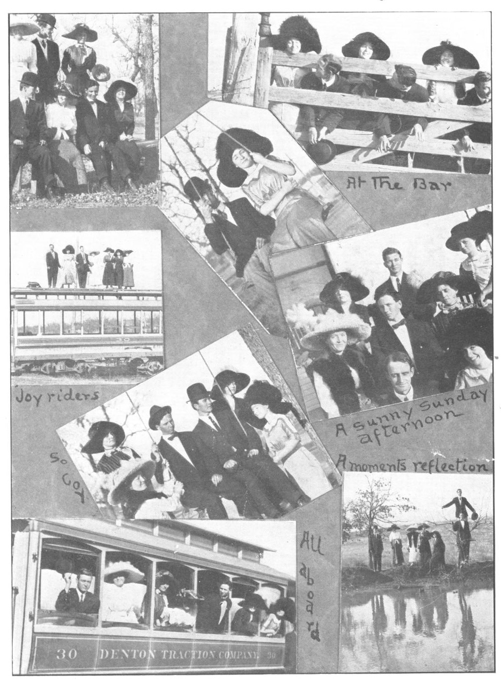 8 black and white photographs arranged at various angels on a grey page, some photos overlapping at corners. Each photo shows a group of men and women in early 1900s dress with hats and dark suits and dresses, outdoors.