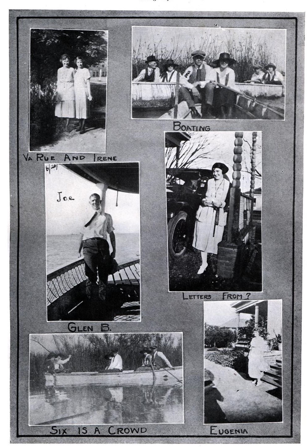 Set of six black and white photographs on a grey page. The photos show individuals of groups outdoors, on row boats and front porch steps. People are dressed in clothing from the early 1920s.