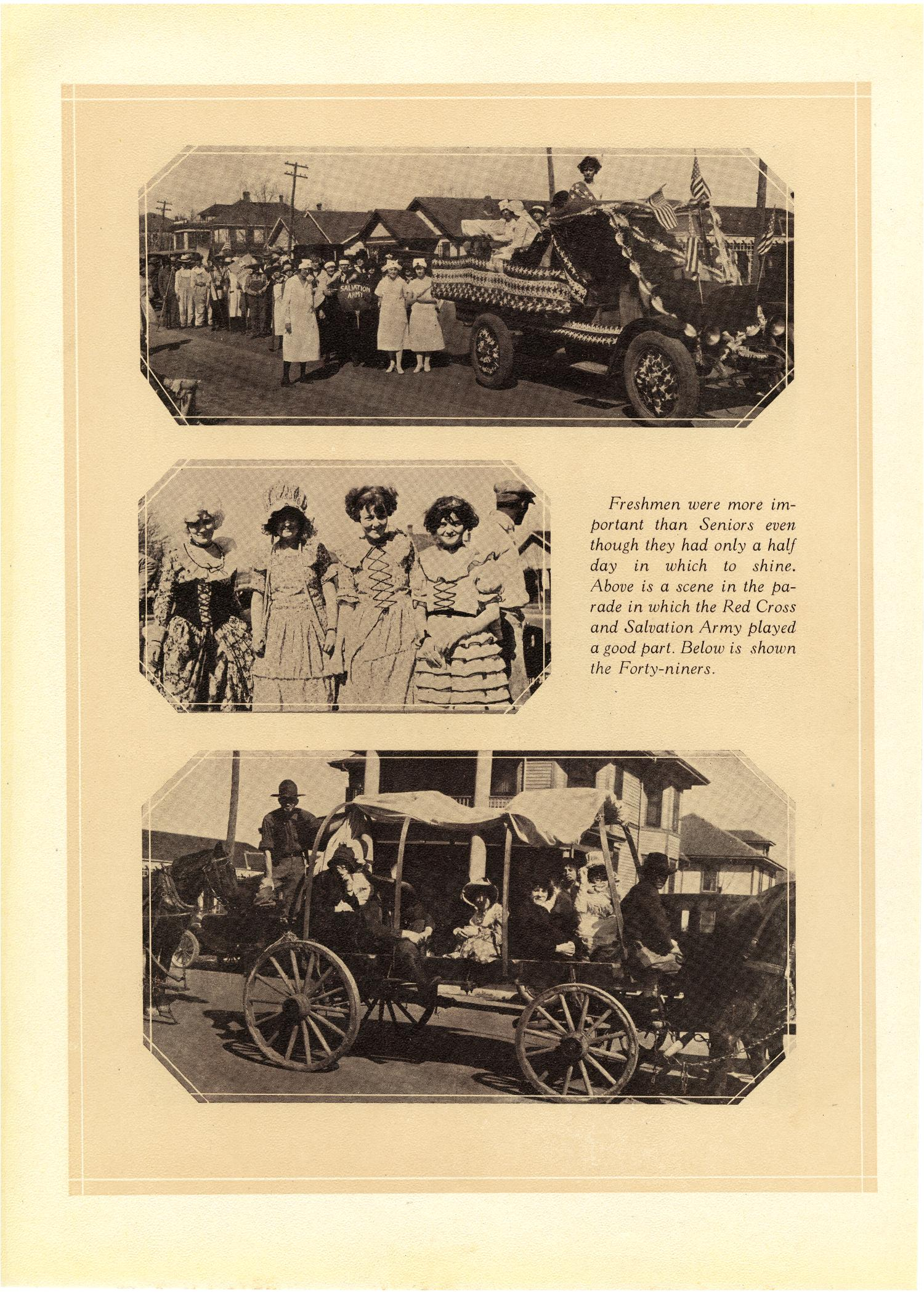Three black and white photographs on a page. The top is of an old automobile with patriotic garlands, and women walking behind dressed in white nurse outfits. The middle is of four women dressed in pioneer style dresses. The bottom is of a covered wagon with seven people sitting in it with a horse at the front.