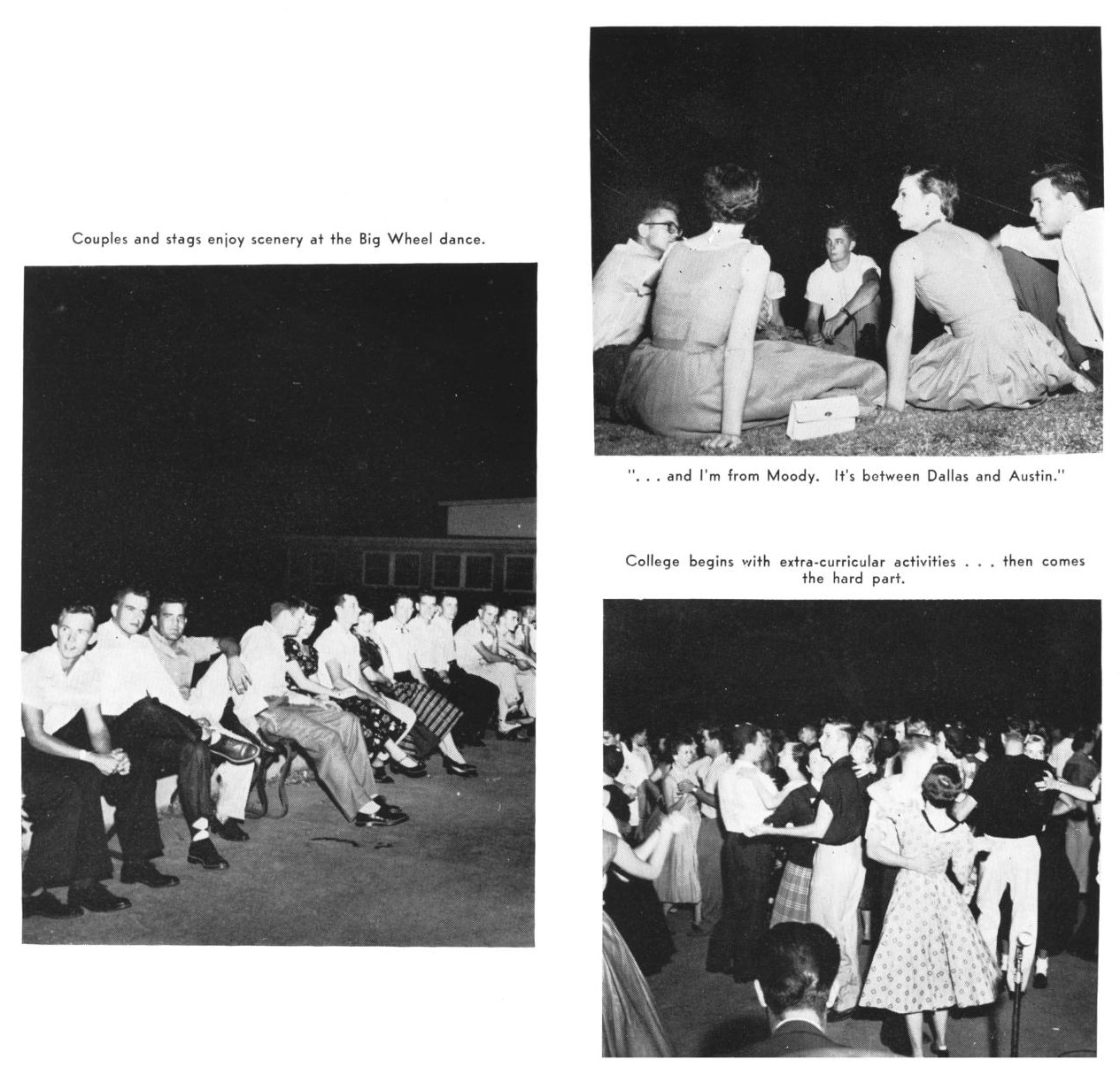 Three black and white photographs on a white background. All images show young people gathered, wearing nice dresses and 1950s clothing. Left photo is people sitting on benches in a row, top right photo is people sitting on the grass in a circle, bottom right photo is many couples dancing.