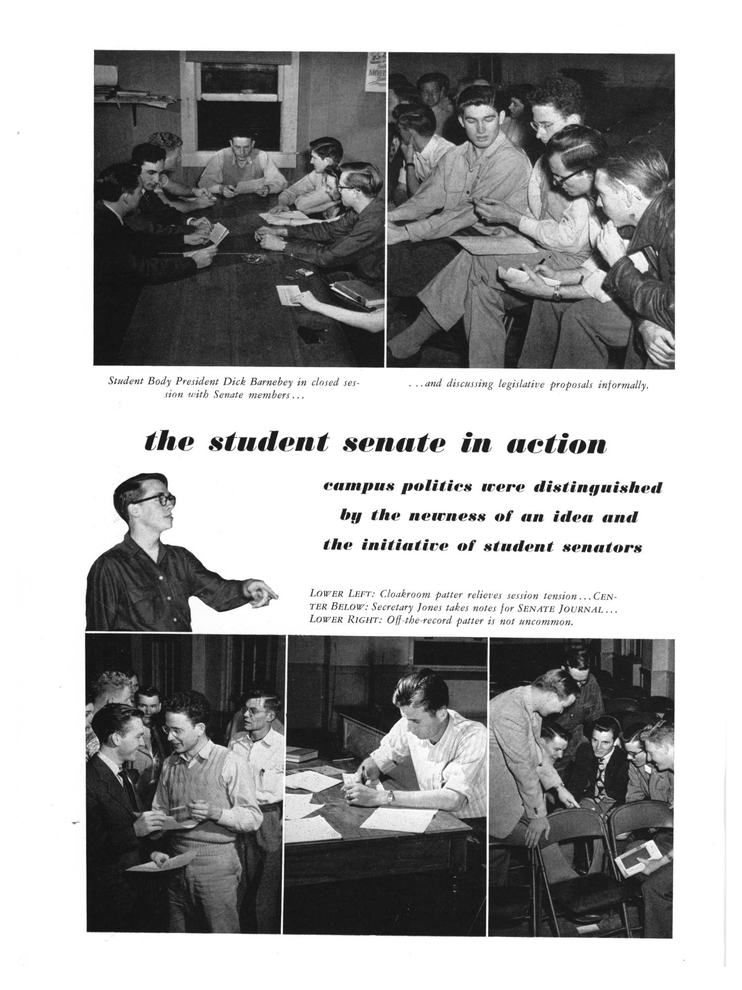 "White page with two black and white photos at top of people sitting with notepads. At center is text reading ""The Student Senate in Action"" and a cutout black and white photo of a man pointing. At bottom are three black and white photos of people talking in different settings."