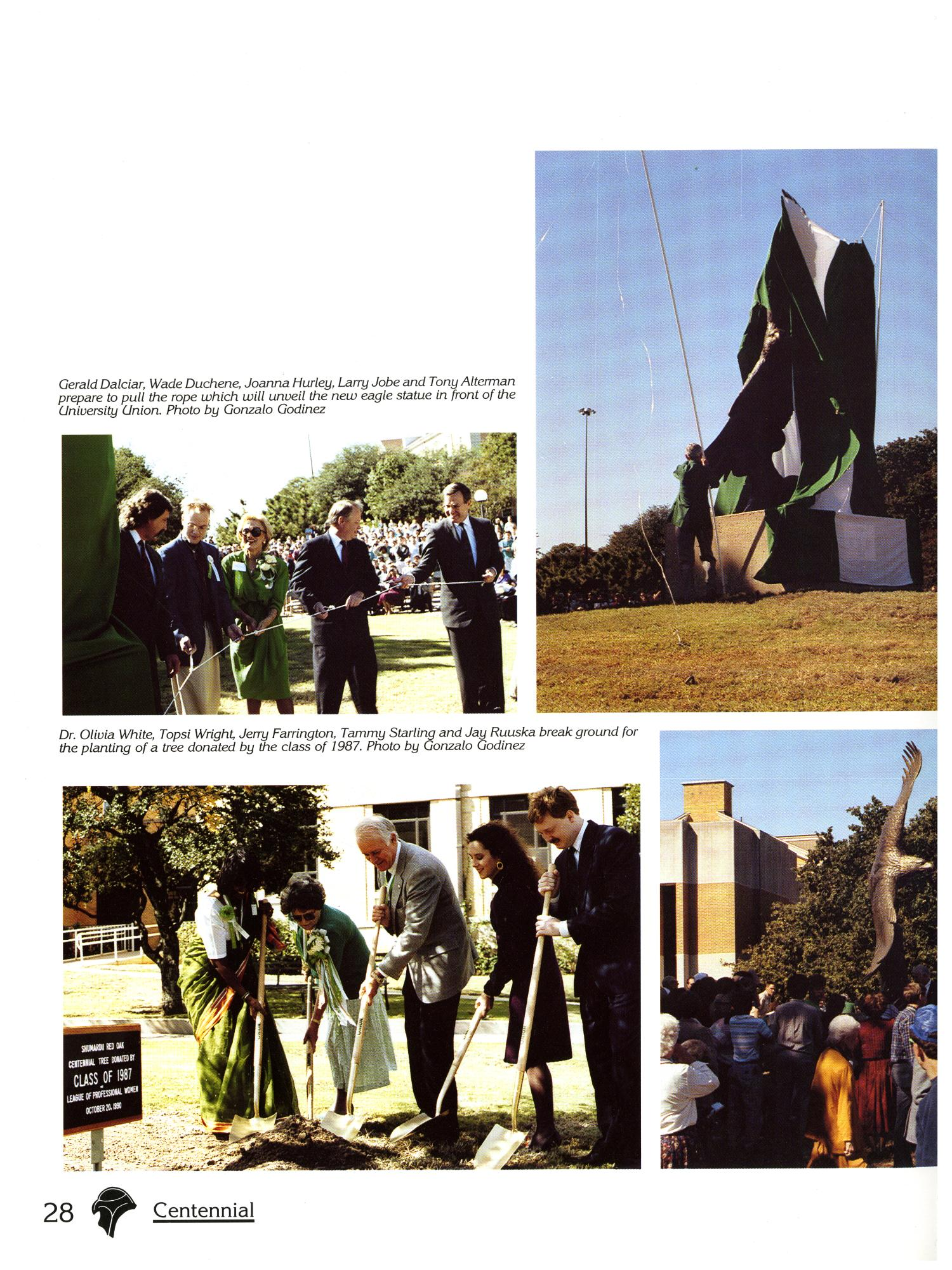 Set of four color photos with small text captions above the left two. Three show the unveiling of a large state of an eagle, first covered in green fabric, and then pulled off by a group men and women pulling a rope.