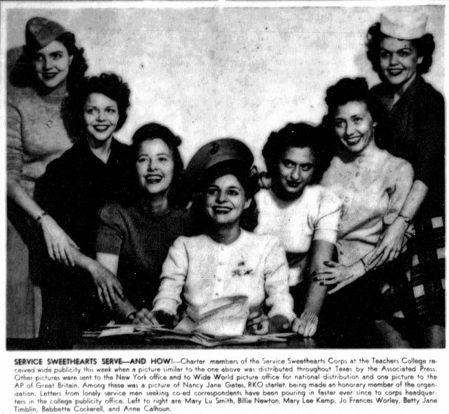 Black and white photograph of 7 women in a V formation, the woman at center seated. Three women wear military style hats. A blurb is written beneath the image titled Service Sweethearts Serve.