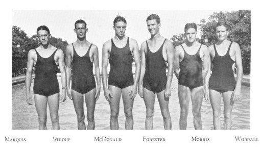 Black and white photograph of six men standing in front of a swimming pool. They wear black leotard like swimming suits.