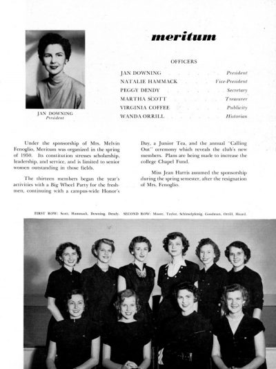 Page from a yearbook with a black and white photograph of a woman in the top left corner, a black and white photograph of two rows of women in all black at the bottom, and text including the title Meritum filling the rest of the page.
