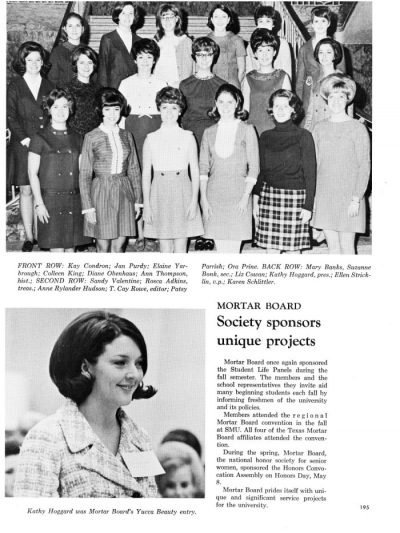 Yeah book page with black and white photographs of women in 1960s clothing, with text including the title Mortar Board Society sponsors unique projects.
