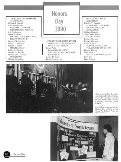 Black and white yearbook page with a list of people being honored for Honors Day 1990, and two photographs below.