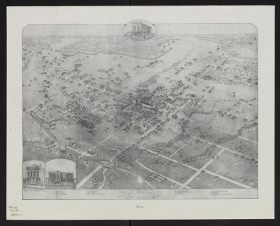 Bird's Eye View of Denton, 1883