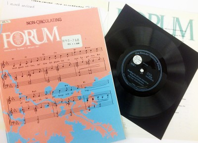 Sample issues of English Teaching Forum, with sample of vinyl flexi disc record.