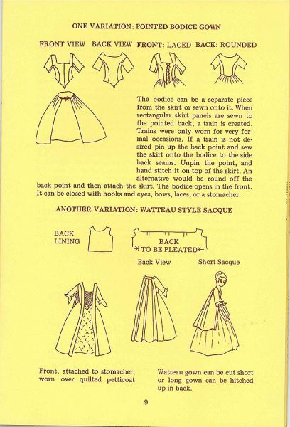 Patterns for 18th century gowns
