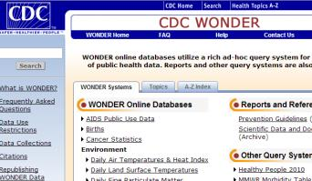 CDC WONDER Home page (detail)