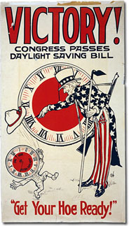 World War I poster advertising the first daylight-saving law