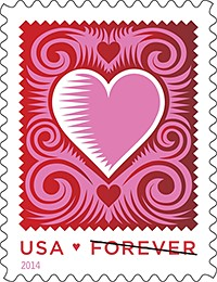 Cut Paper Heart Forever Stamp