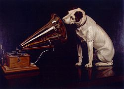 "Nipper the dog listening to ""His Master's Voice"""