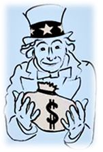 Uncle Sam holding a bag of your money