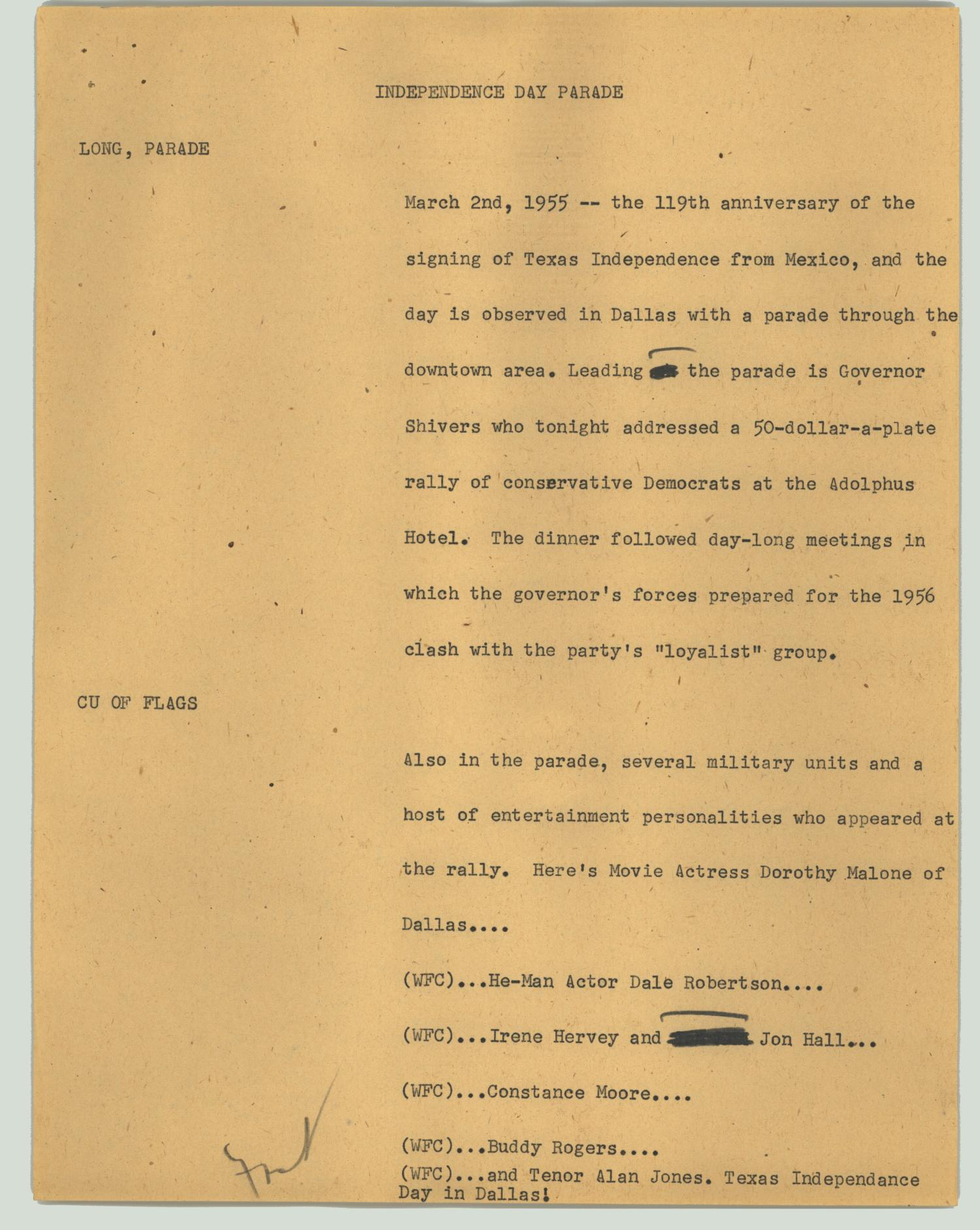 A script details the festivities in Dallas on Texas Independence Day, 1955