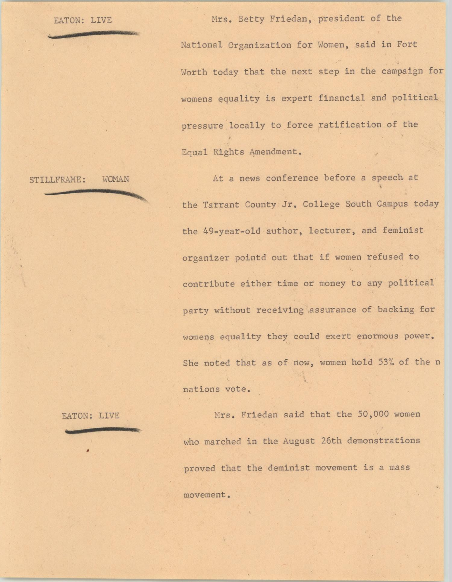yellow paper, the left side has three lines of typed text with black ink underlines, the right of the page is filled with typed text