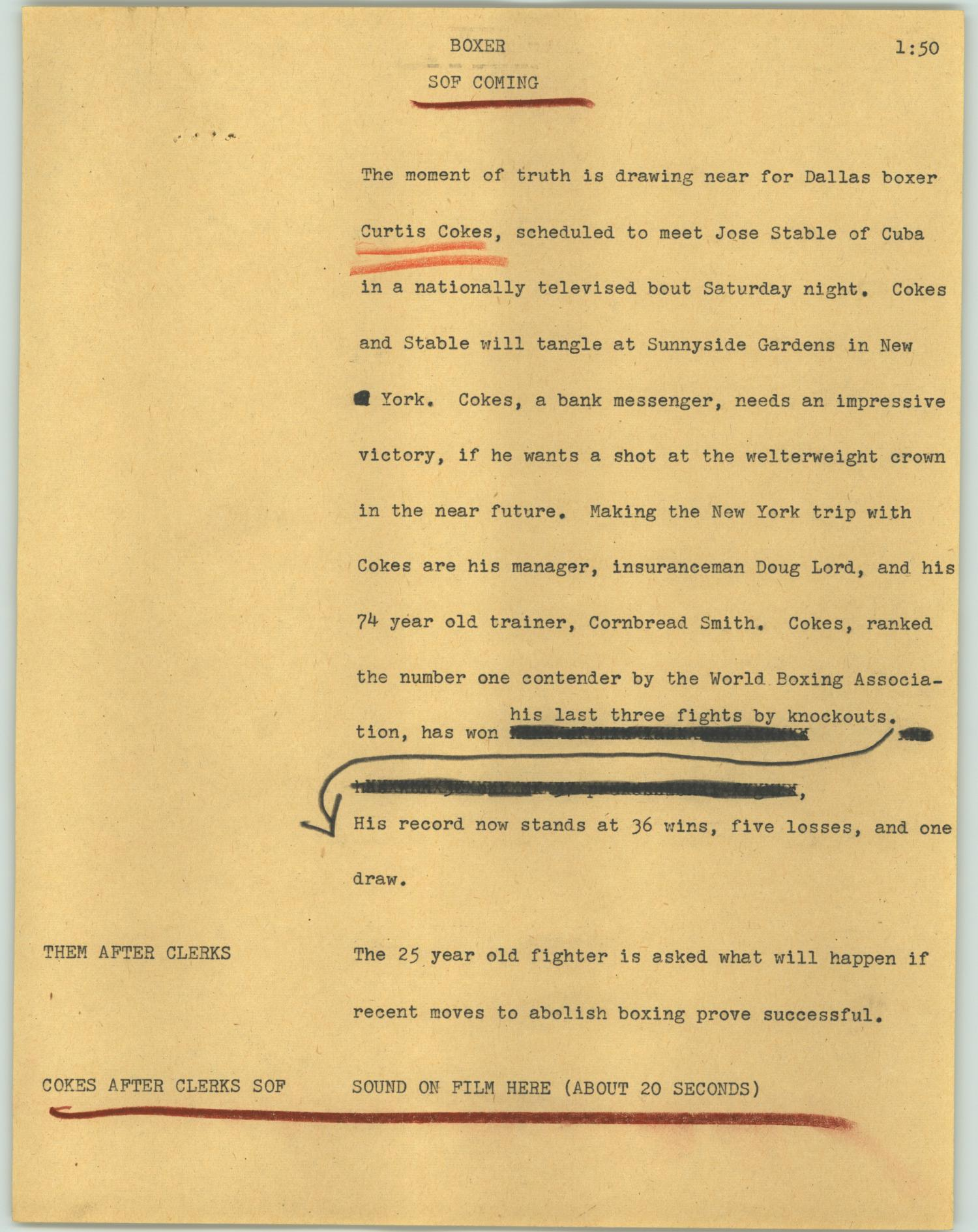 yellow page with typewriter text. The heading reads 'boxer.' Some lines of text are underlined in red, while other lines are blacked out with an arrow drawn to the next line down.
