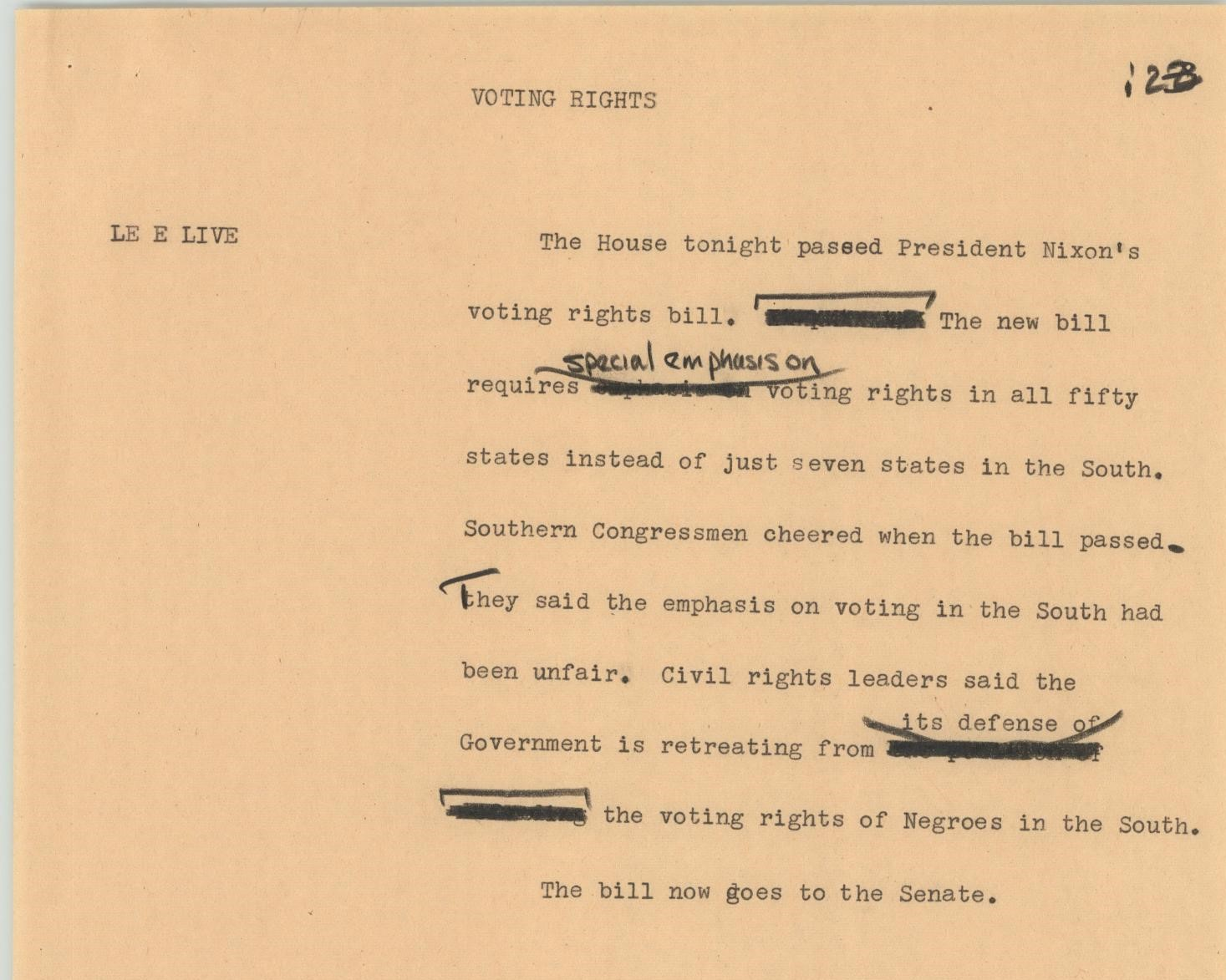 yellowed paper with typewritten text. Title says Voting Rights. Main text has words crossed out and correcting made in black ink throughout.
