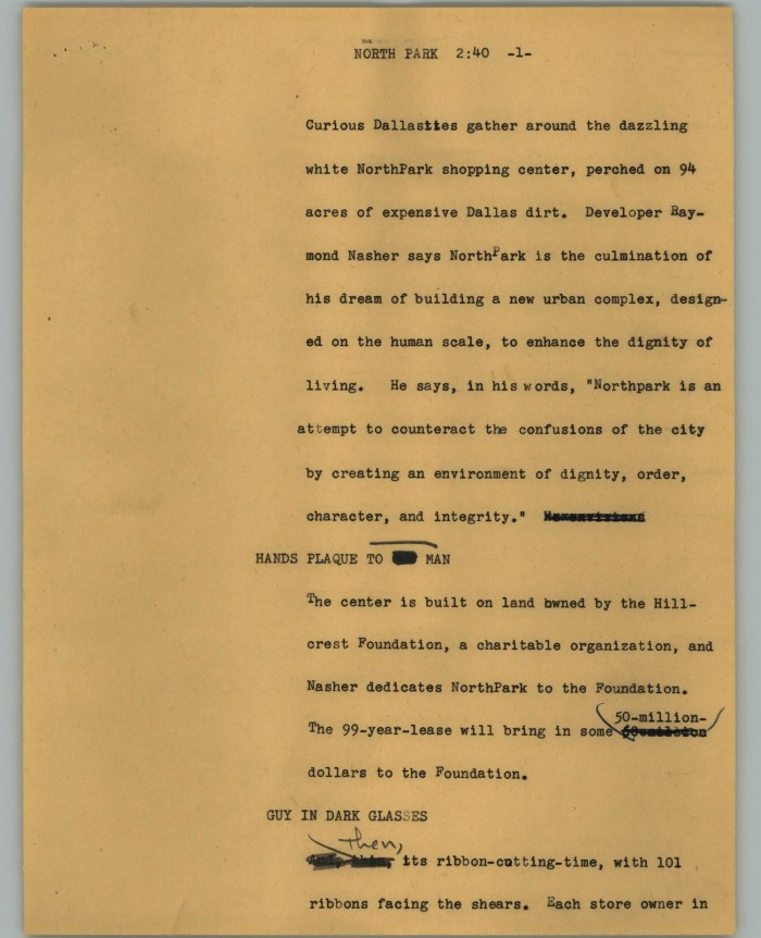 Yellow paper with typewritten text filling the right half of the page. The title reads North Park, and there are hand written edits throughout.
